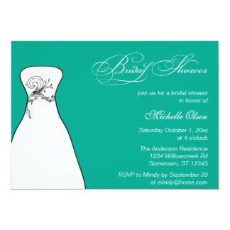 Wedding Gown Emerald Bridal Shower 13 Cm X 18 Cm Invitation Card