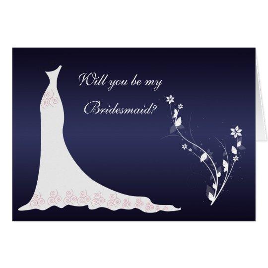 Wedding gown, flowers on dark blue Bridesmaid Card