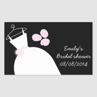 Wedding Gown Pink Bridal Shower rectangle black Sticker