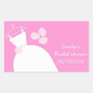 Wedding Gown Pink 'Bridal Shower' rectangle Rectangular Sticker