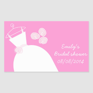 Wedding Gown Pink 'Bridal Shower' rectangle Sticker