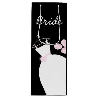 Wedding Gown Pink Bride black wine Wine Gift Bag