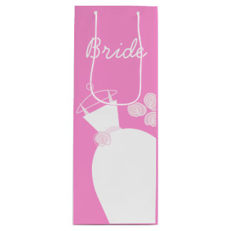 Wedding Gown Pink Bride gift bag wine