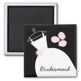 Wedding Gown Pink 'Bridesmaid' black Magnet
