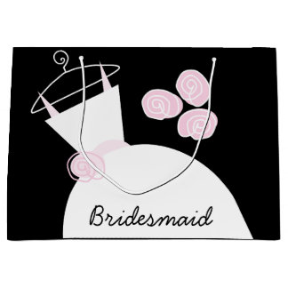 Wedding Gown Pink Bridesmaid gift bag black large