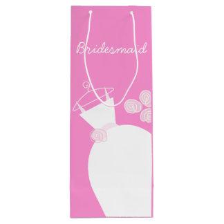 Wedding Gown Pink Bridesmaid gift bag wine