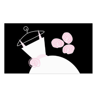 Wedding Gown Pink business card template black
