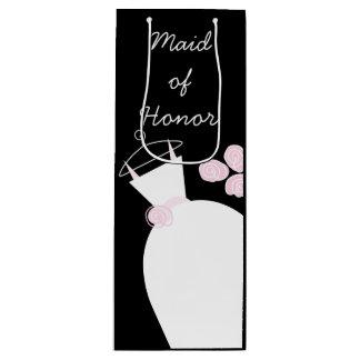 Wedding Gown Pink Maid of Honor black wine Wine Gift Bag