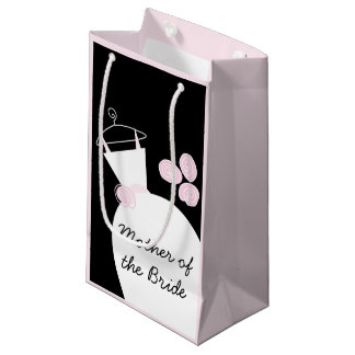 Wedding Gown Pink Mother Bride black pastel small Small Gift Bag