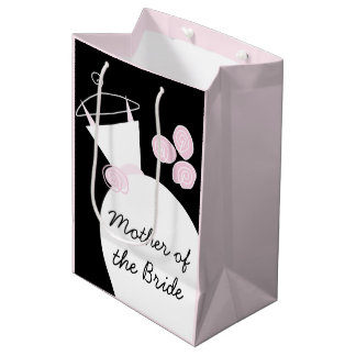 Wedding Gown Pink Mother of Bride black pastel med Medium Gift Bag