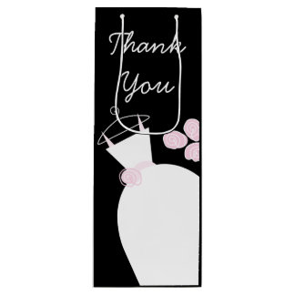 Wedding Gown Pink Thank You black wine Wine Gift Bag