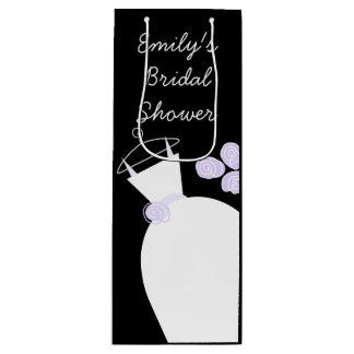 Wedding Gown Purple Bridal Shower black wine Wine Gift Bag