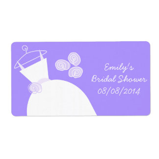 Wedding Gown Purple Bridal Shower horizontal Shipping Label