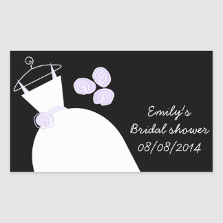 Wedding Gown Purple Bridal Shower rectangle black Rectangular Sticker