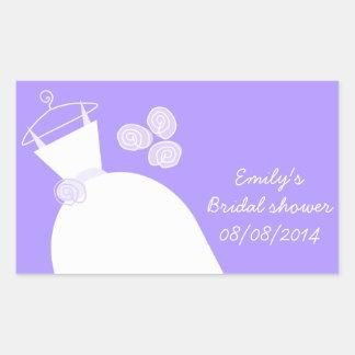 Wedding Gown Purple 'Bridal Shower' rectangle Rectangular Sticker