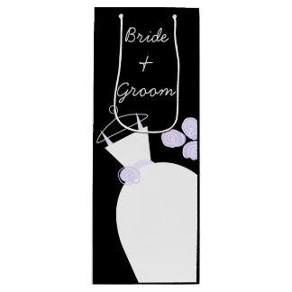 Wedding Gown Purple Bride and Groom black wine Wine Gift Bag