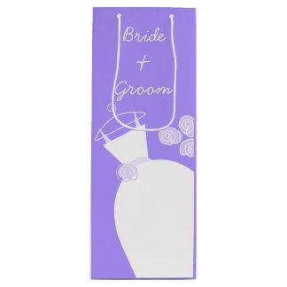 Wedding Gown Purple Bride and Groom wine Wine Gift Bag