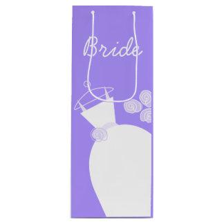 Wedding Gown Purple Bride gift bag wine