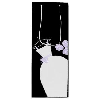 Wedding Gown Purple gift bag black wine