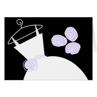 Wedding Gown Purple 'Thank You' horizontal black Greeting Card