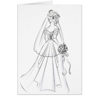 Wedding Gown-simple pen and ink look Card