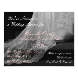 Wedding Gown Train Bridal Shower Invitation