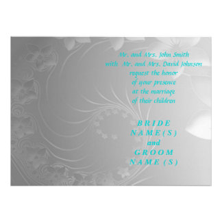 Wedding - Gray Abstract Flowers Personalized Invitation