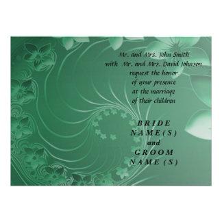 Wedding - Green Abstract Flowers Custom Invitation