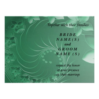 Wedding - Green Abstract Flowers Personalized Announcement