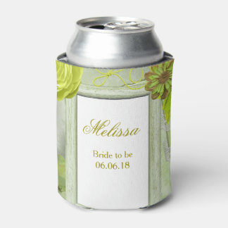 Wedding Green Floral Custom Can Cooler