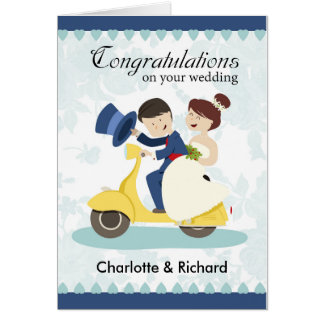 Wedding Greeting Card, couple on scooter customize Greeting Card