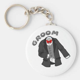 Wedding Groom Basic Round Button Key Ring