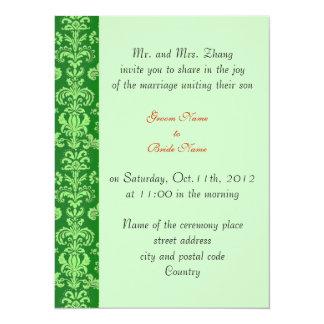 wedding, Groom's parents invitation black damask Invites