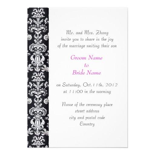 wedding, Groom's parents invitation black damask Custom Invitation