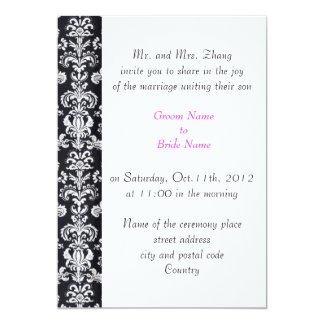 wedding, Groom's parents invitation black damask Personalized Announcement