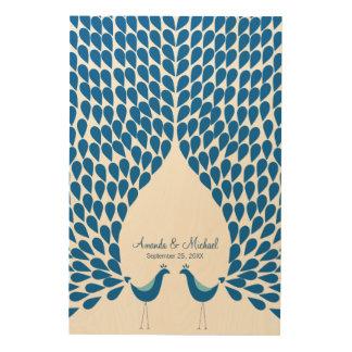 Wedding guest book alternative peacocks feathers wood wall decor