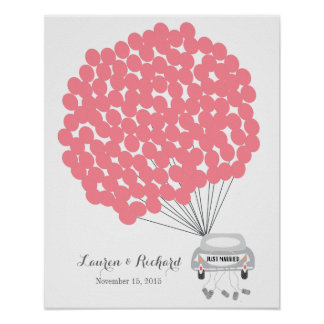 Wedding Guest Book Alternative with red balloons Poster