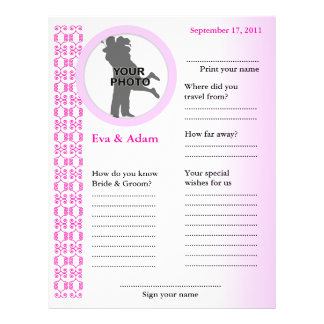 Wedding Guest Book Attended Vertical Classic Pink 21.5 Cm X 28 Cm Flyer