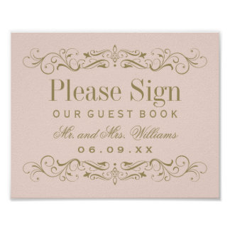 Wedding Guest Book Sign | Antique Gold Flourish