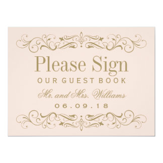 Wedding Guest Book Sign | Antique Gold Flourish 17 Cm X 22 Cm Invitation Card