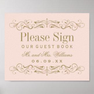 Wedding Guest Book Sign | Antique Gold Flourish Poster