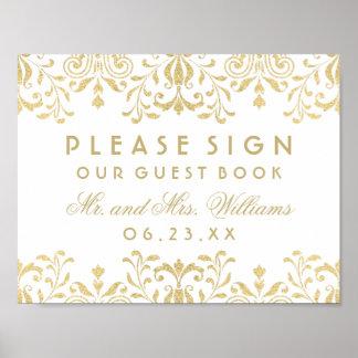 Wedding Guest Book Sign | Gold Vintage Glamour