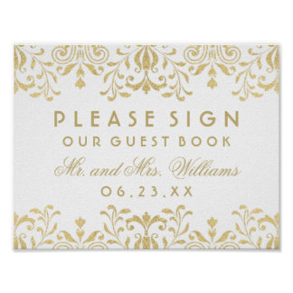 Wedding Guest Book Sign   Gold Vintage Glamour Poster