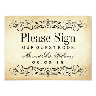 Wedding Guest Book Sign | Vintage Flourish 17 Cm X 22 Cm Invitation Card