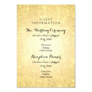 Wedding Guest Information Gold Foil Stars Confetti 9 Cm X 13 Cm Invitation Card