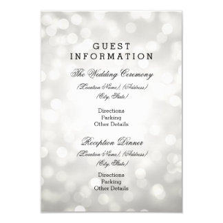 Wedding Guest Information Silver Glitter Lights 9 Cm X 13 Cm Invitation Card