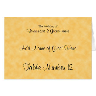 Wedding Guest Seating Card in Yellow and Black