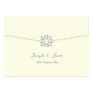 Wedding Guestbook Cards Ivory with Pearl Diamond Business Card Template