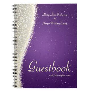 Wedding Guestbook Dazzling Sparkles Purple Spiral Notebook