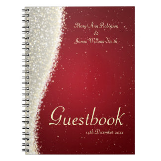 Wedding Guestbook Dazzling Sparkles Red Spiral Note Books